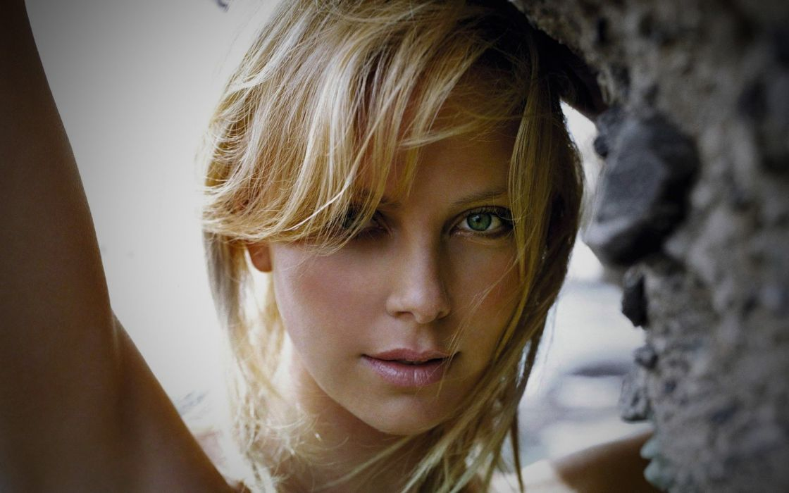 blondes women close-up actress Charlize Theron outdoors South African faces wallpaper
