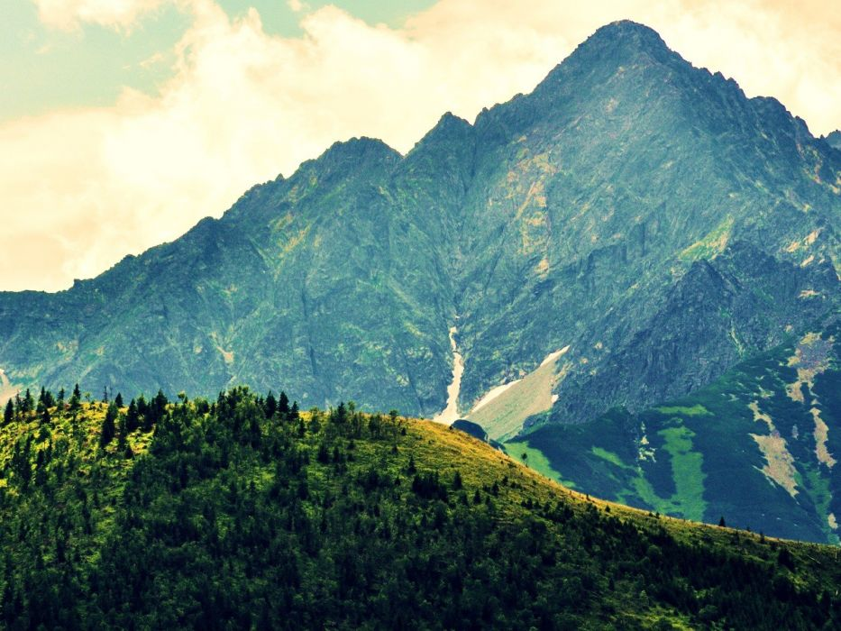 mountains clouds landscapes nature trees wallpaper
