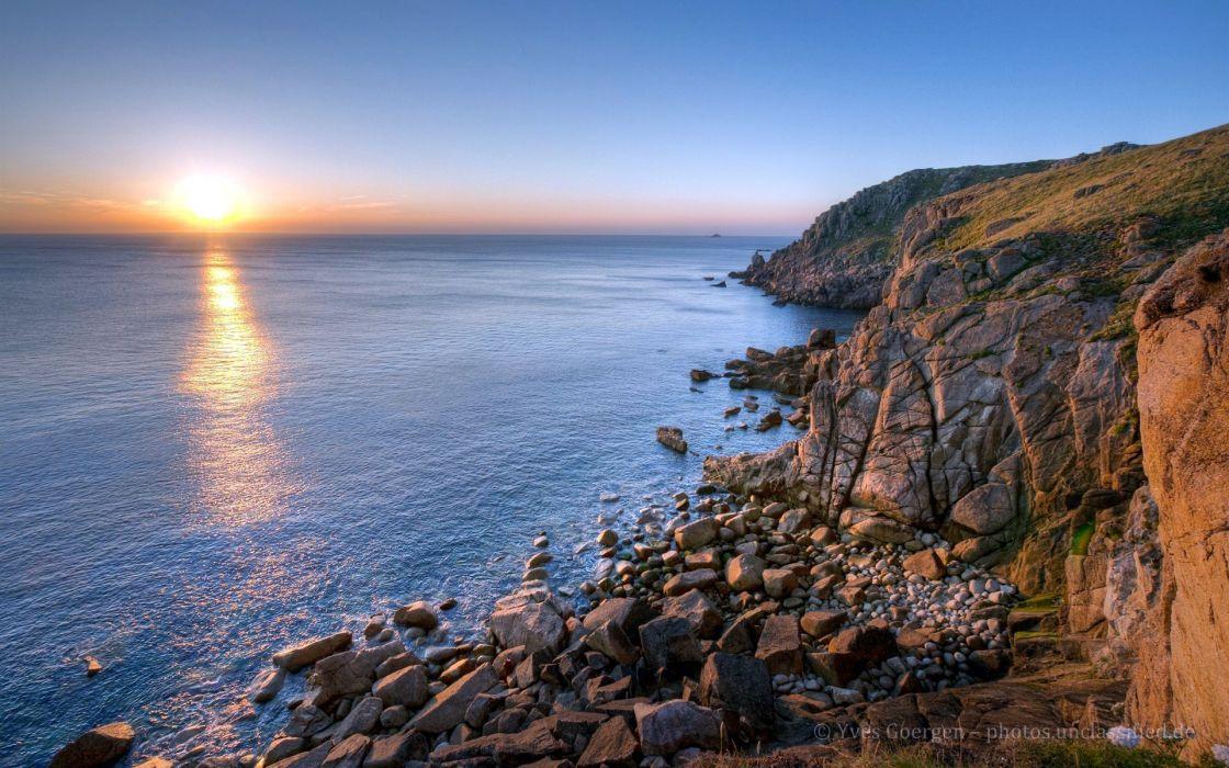 sunset ocean nature cliffs wallpaper