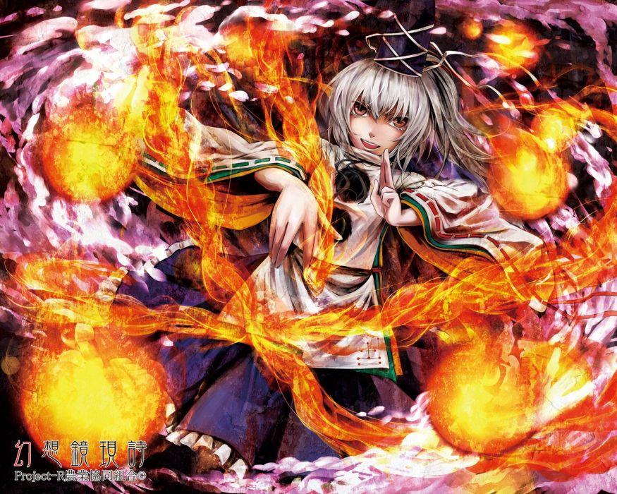 video games Touhou fire long hair red eyes white hair hats Japanese clothes anime girls Mononobe no Futo Touhou TCG fireball wallpaper