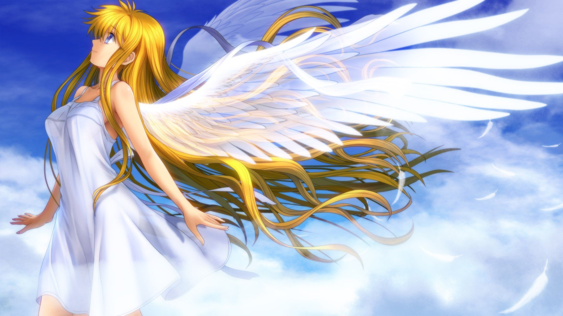 blondes video games clouds wings dress blue eyes wind long hair ...: www.wallpaperup.com/242051/blondes_video_games_clouds_wings_dress...