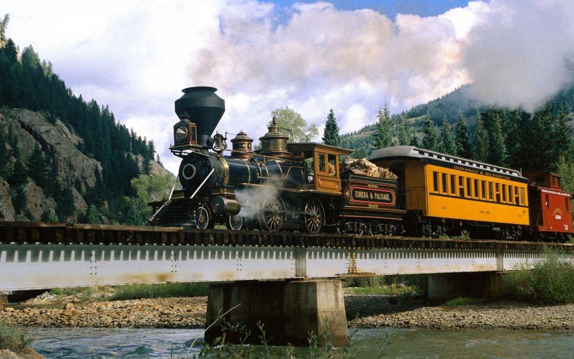 trains railroad tracks steam engine wallpaper