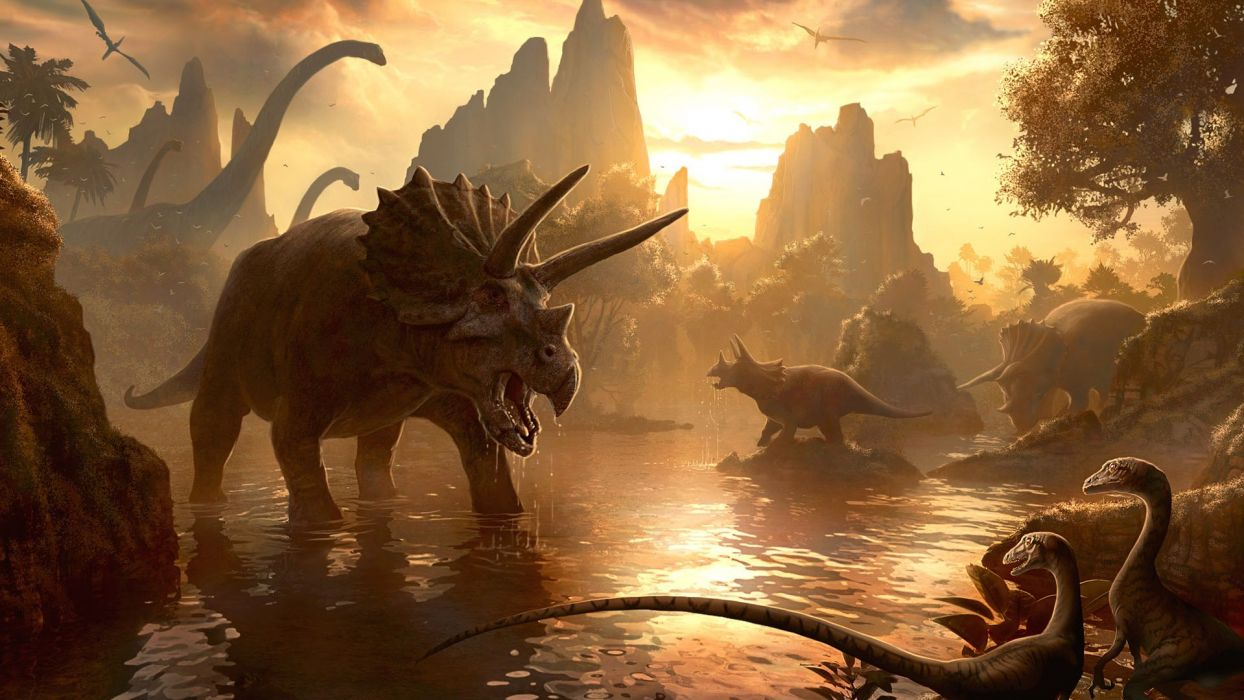 sunset artistic dinosaurs realistic raptors triceratops Pterodactyls Diplodocus wallpaper