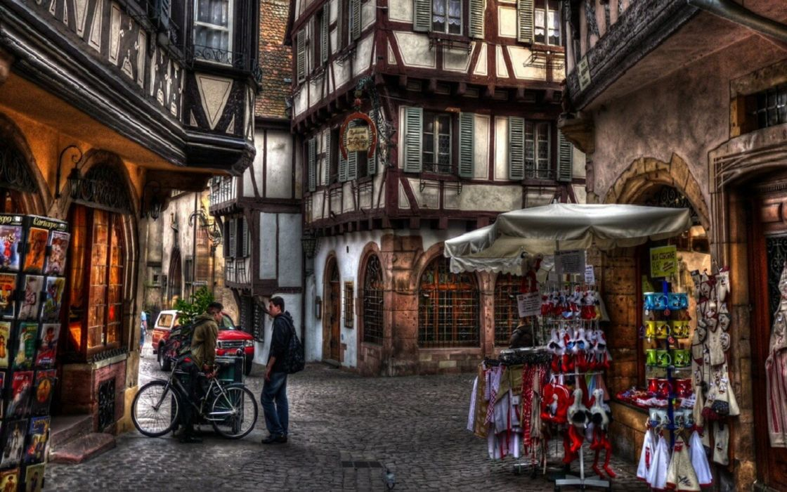 streets France Colmar HDR photography wallpaper
