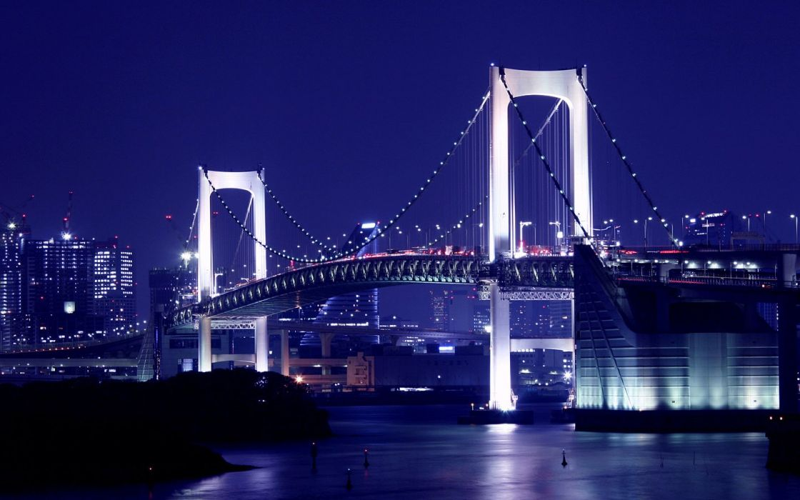 Japan Tokyo night bridges Rainbow Bridge wallpaper