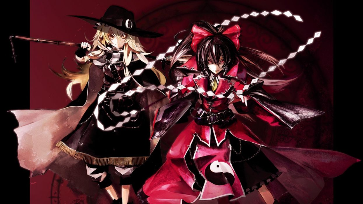 video games Touhou ribbons red eyes Kirisame Marisa Hakurei Reimu hats Koumajou Densetsu Japanese clothes anime girls Banpai Akira wallpaper