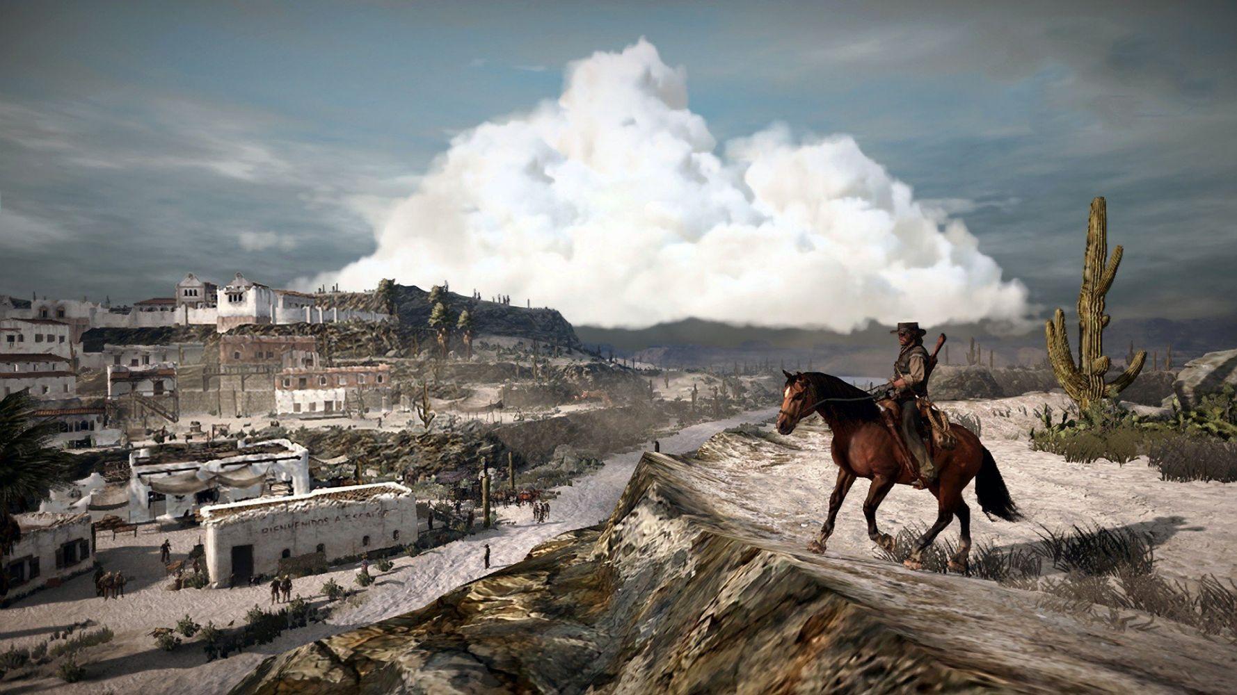 Red Dead Redemption Marston op paard in het wilde westen
