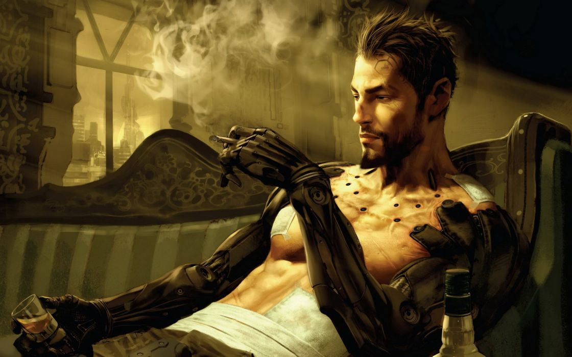 DEUS EX Human Revolution cyberpunk action role playing sci-fi futuristic (90) wallpaper