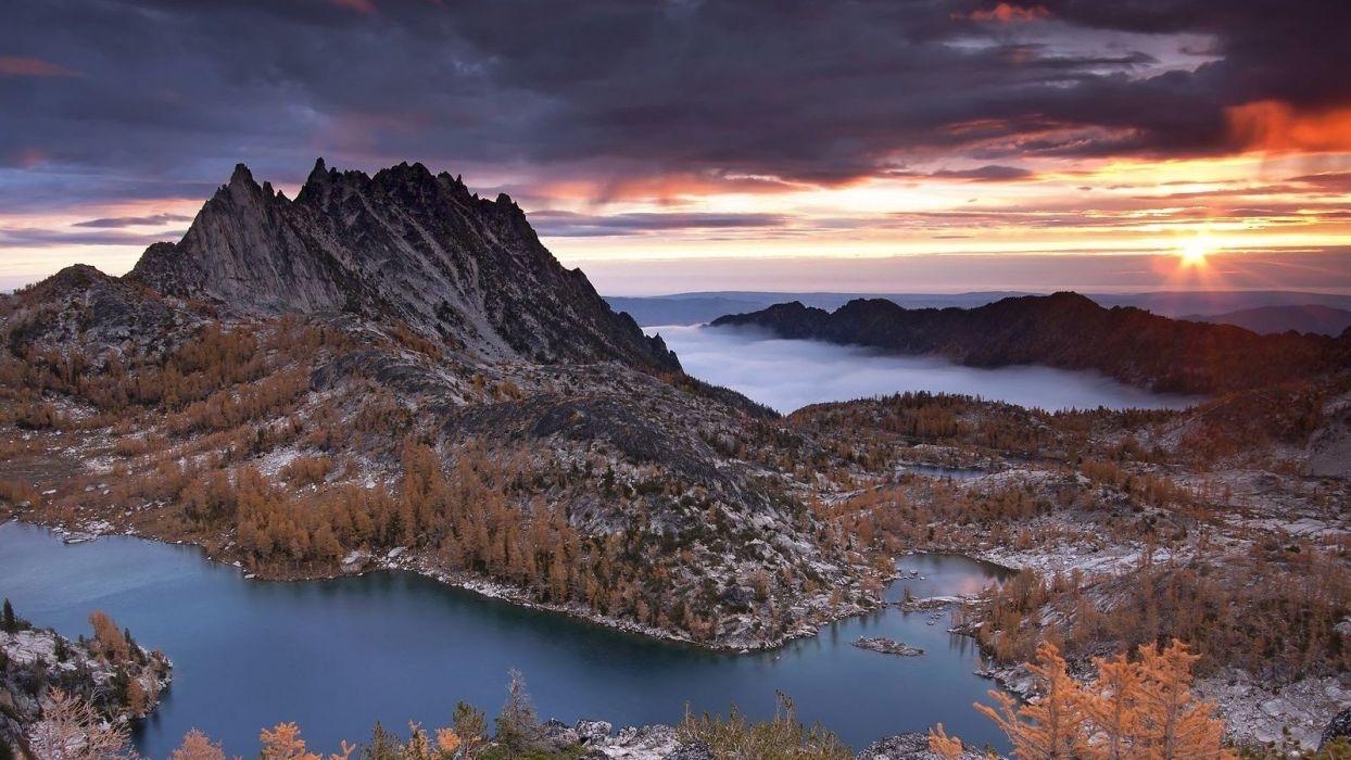 water sunset landscapes nature trees hills peaks peak lakes skies wilderness Washington State cloud wallpaper