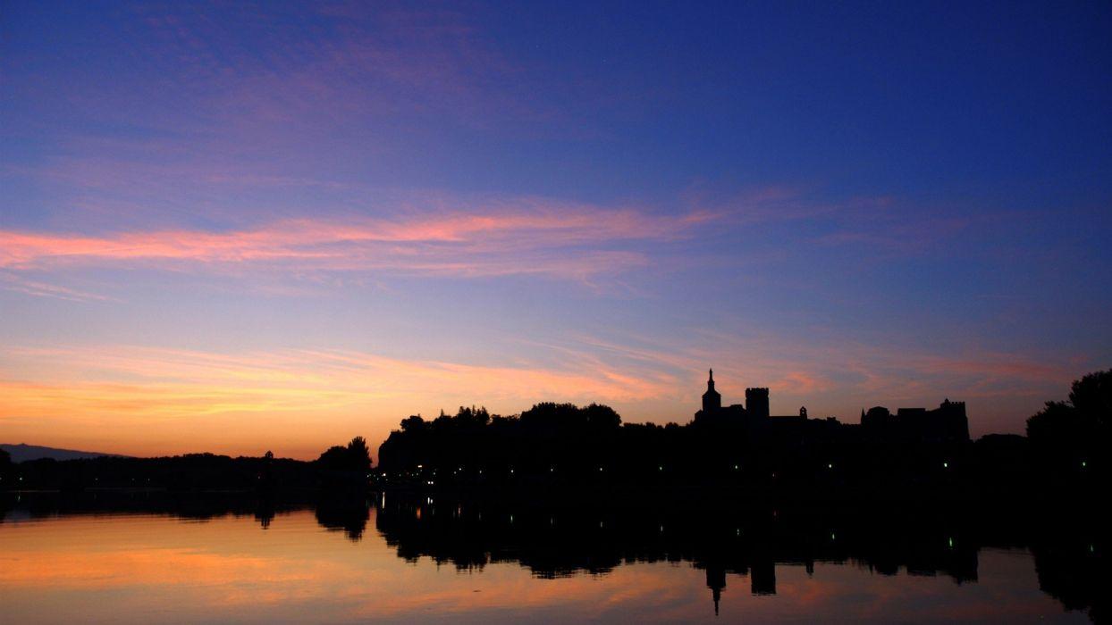sunrise landscapes France lakes skies avignon wallpaper