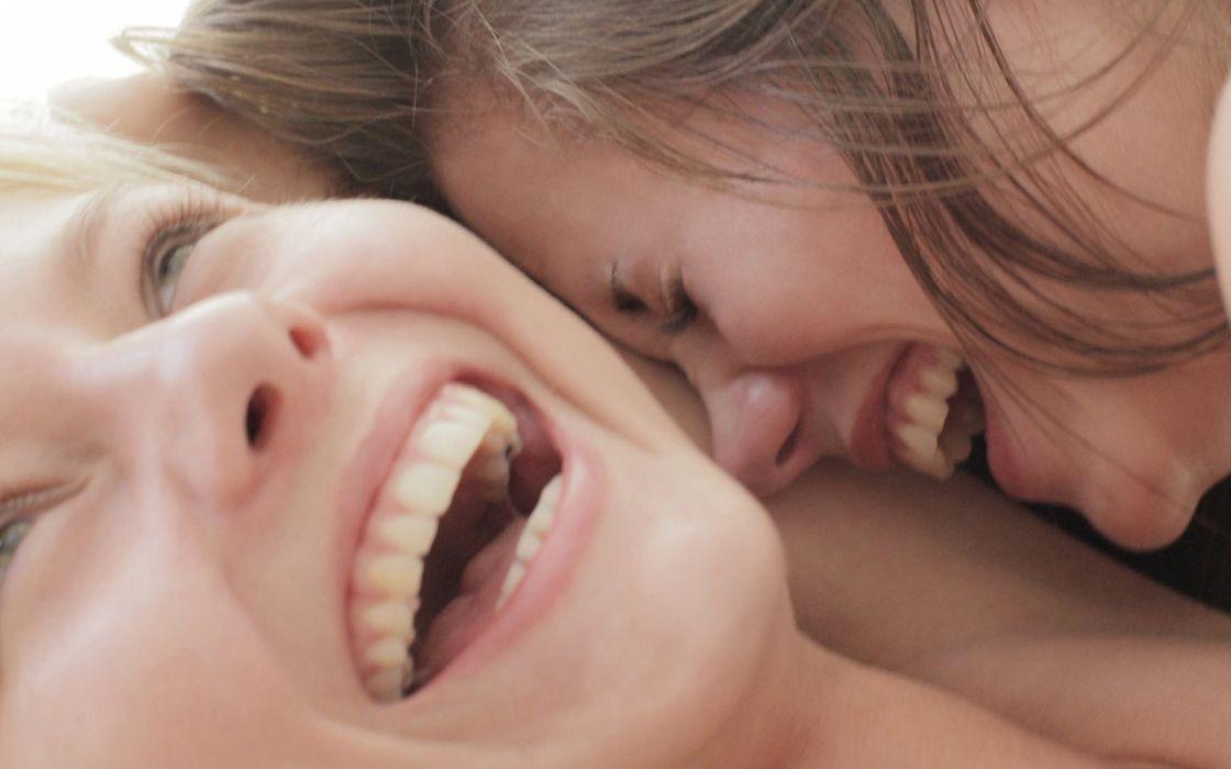 brunettes blondes women close-up lesbians Little Caprice X-Art magazine laughing Annely Gerritsen wallpaper