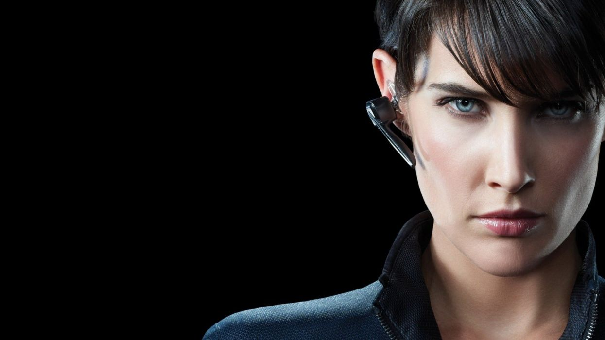 women Cobie Smulders Maria Hill The Avengers (movie) black background bangs wallpaper