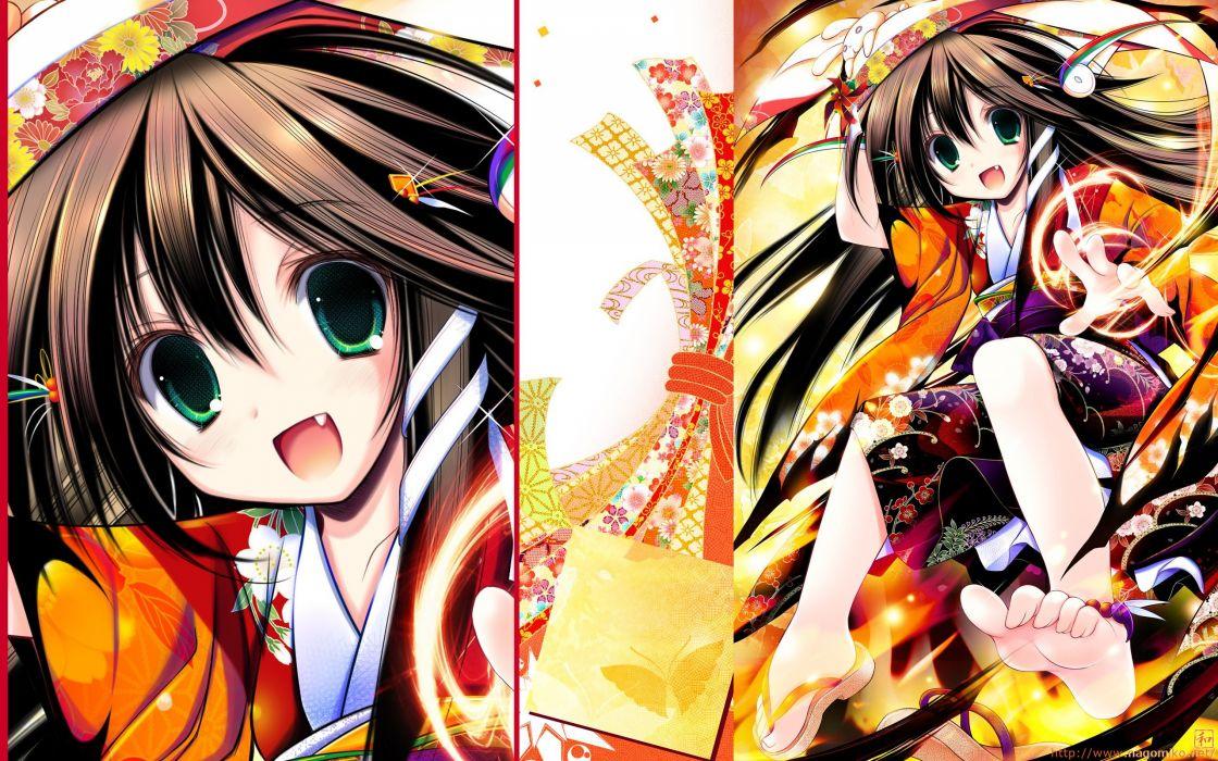 brunettes long hair kimono green eyes fangs Japanese clothes anime girls Tenmu Shinryuusai wallpaper