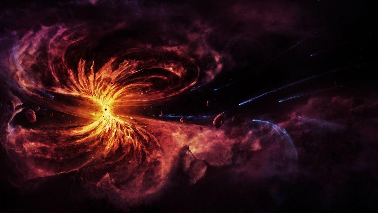 Chaos nebulae black hole asteroids matter wallpaper