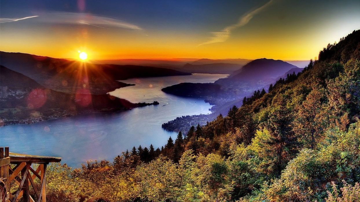 green water sunset blue landscapes nature trees red yellow forests France lakes Alps Annecy cities wallpaper