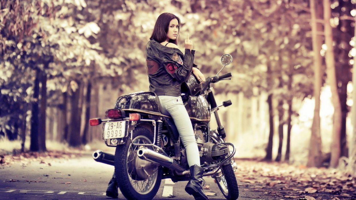 women engines motorbikes middle finger wallpaper