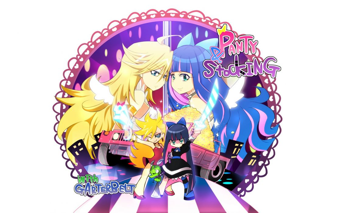 Panty and Stocking with Garterbelt Anarchy Panty Anarchy Stocking striped legwear wallpaper