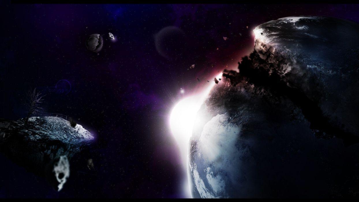 Moon Planet Earth photo manipulation wallpaper