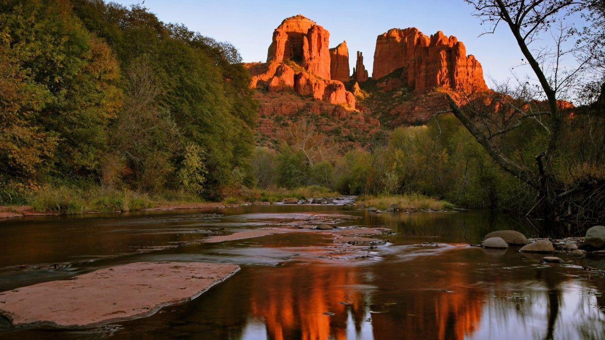 rocks Arizona cathedrals oak wallpaper