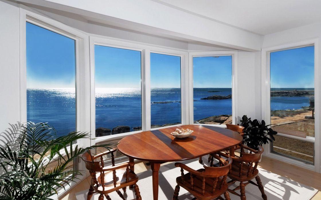 tables windows  sea wallpaper