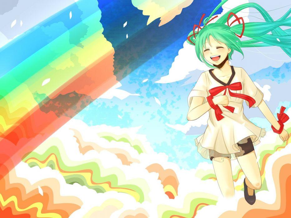 clouds Vocaloid Hatsune Miku ribbons rainbows green hair twintails bows artist wallpaper