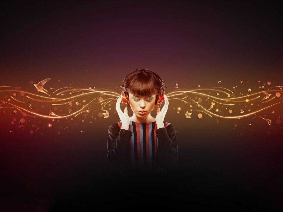 headphones music multicolor Dj Girls colors wallpaper