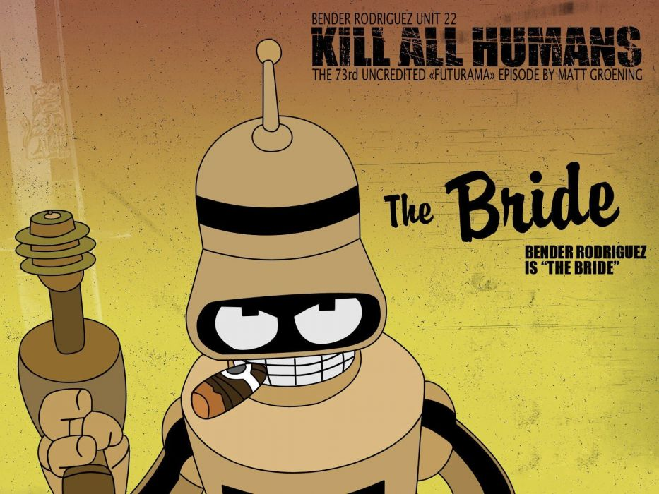 Futurama cartoons Bender robots funny cigars wallpaper