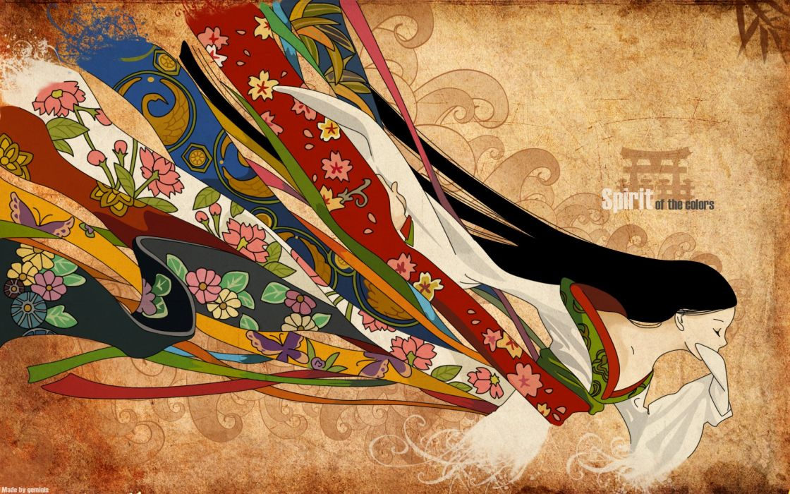brunettes abstract multicolor long hair kimono closed eyes Japanese clothes wallpaper