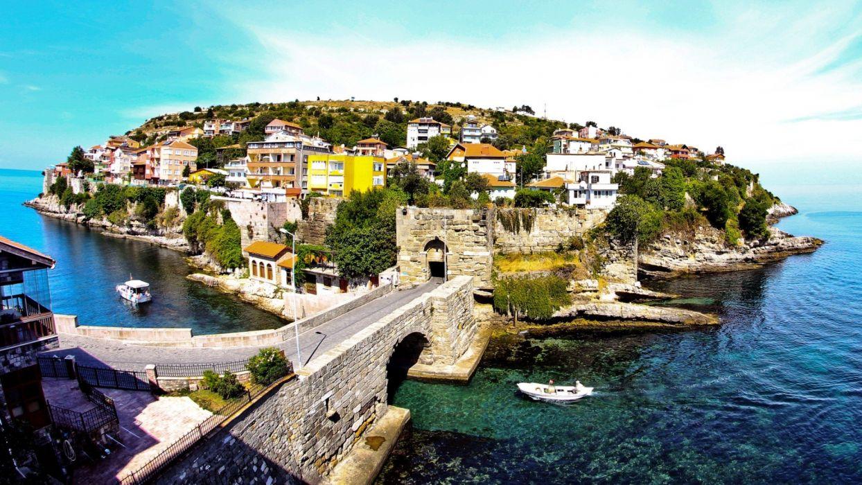 landscapes bridges islands Turkey boztepe Amasra BartAIA wallpaper