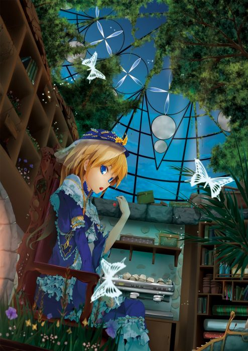 blondes blue eyes cherries anime girls butterflies wallpaper