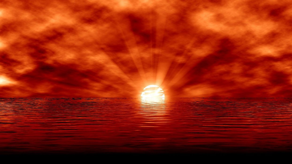 sunset abstract landscapes nature 3D renders TagNotAllowedTooSubjective wallpaper