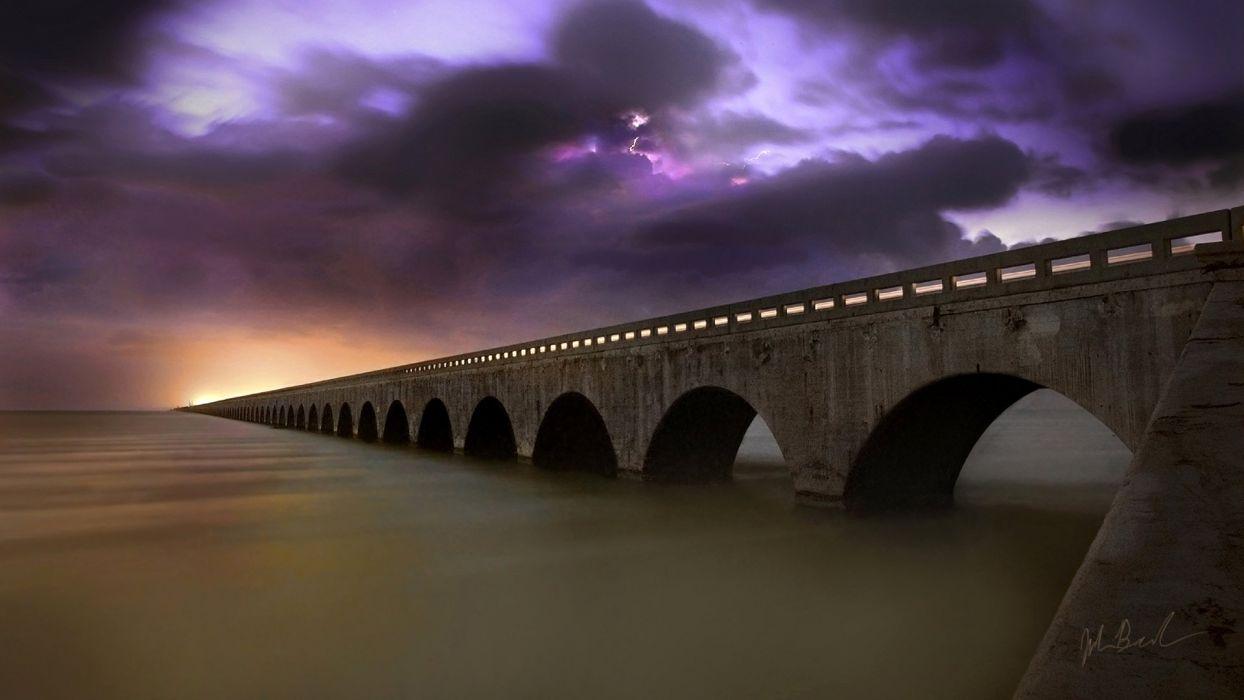 clouds bridges wallpaper
