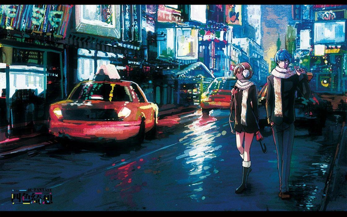 brunettes boots pants winter cityscapes streets Vocaloid cars Kaito (Vocaloid) buildings blue hair jackets short hair umbrellas scarfs reflections Meiko earmuffs wallpaper