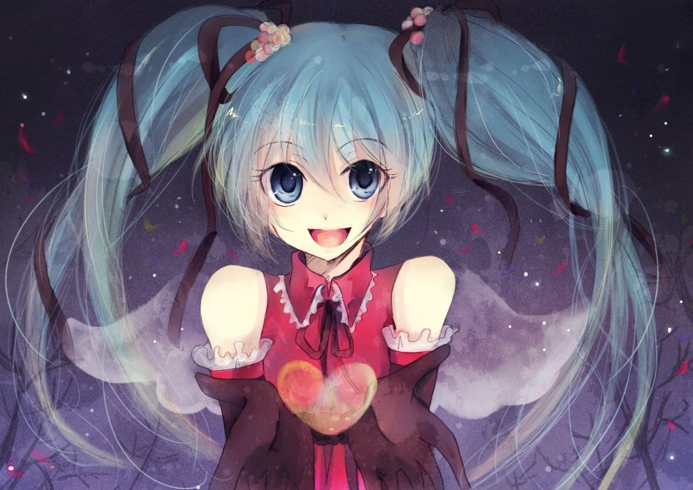 Vocaloid Hatsune Miku twintails hearts detached sleeves wallpaper