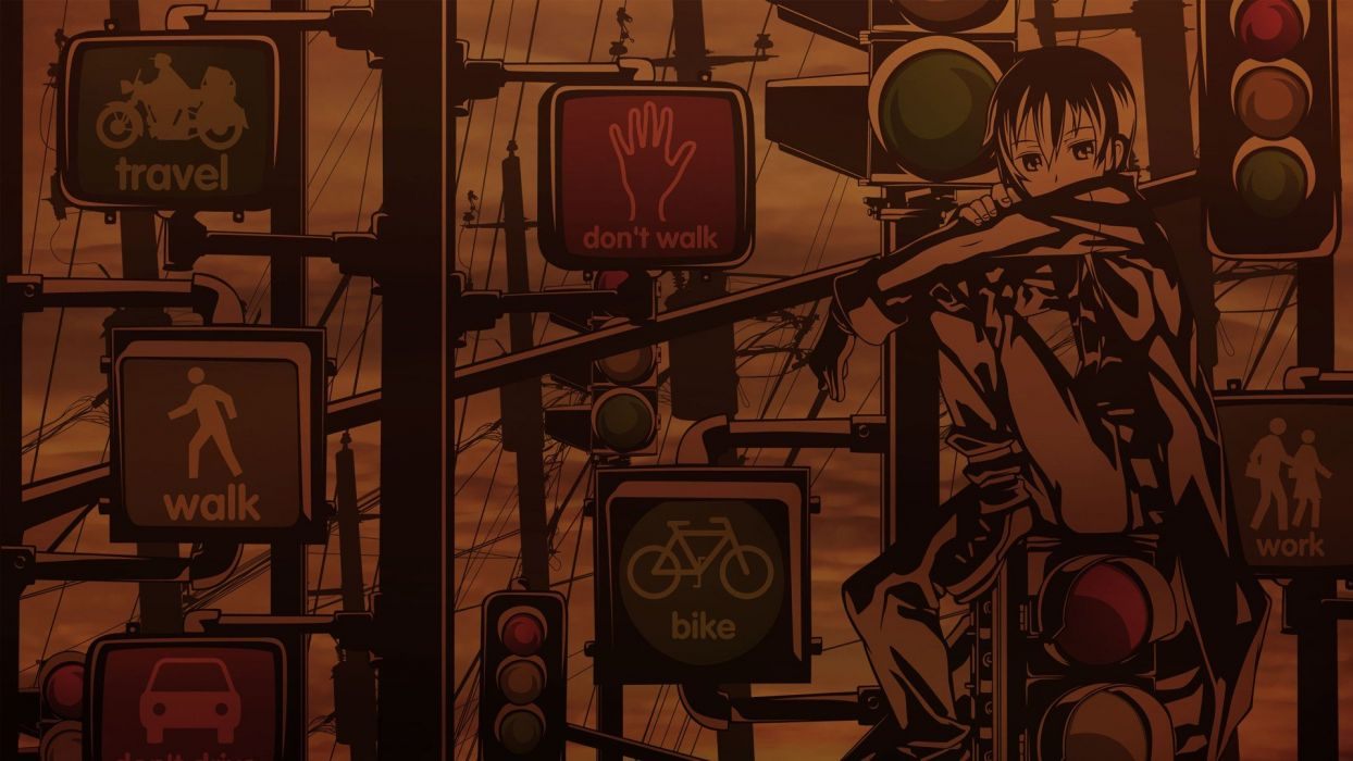 Kino no Tabi urban traffic lights power lines stop signs street signs wallpaper