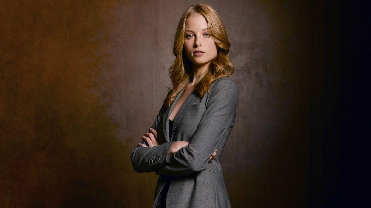 blondes women blue eyes actress models Rachel Nichols business suit wallpaper
