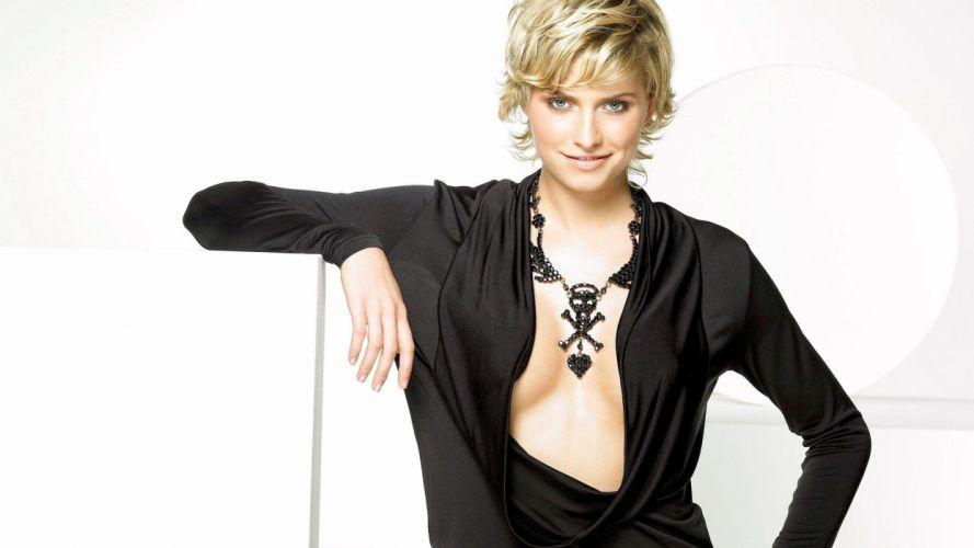 blondes women cleavage models Lena Gercke German WAGs black top wallpaper
