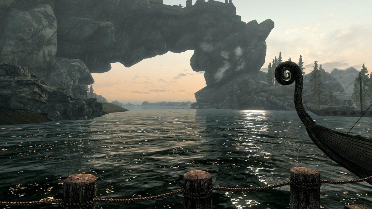 water boats lakes The Elder Scrolls V: Skyrim wallpaper