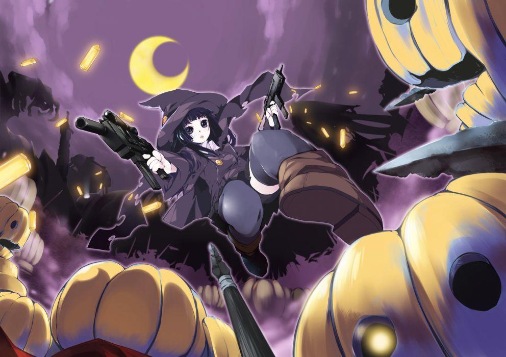 witch Halloween Moon weapons thigh highs anime girls pumpkins wallpaper