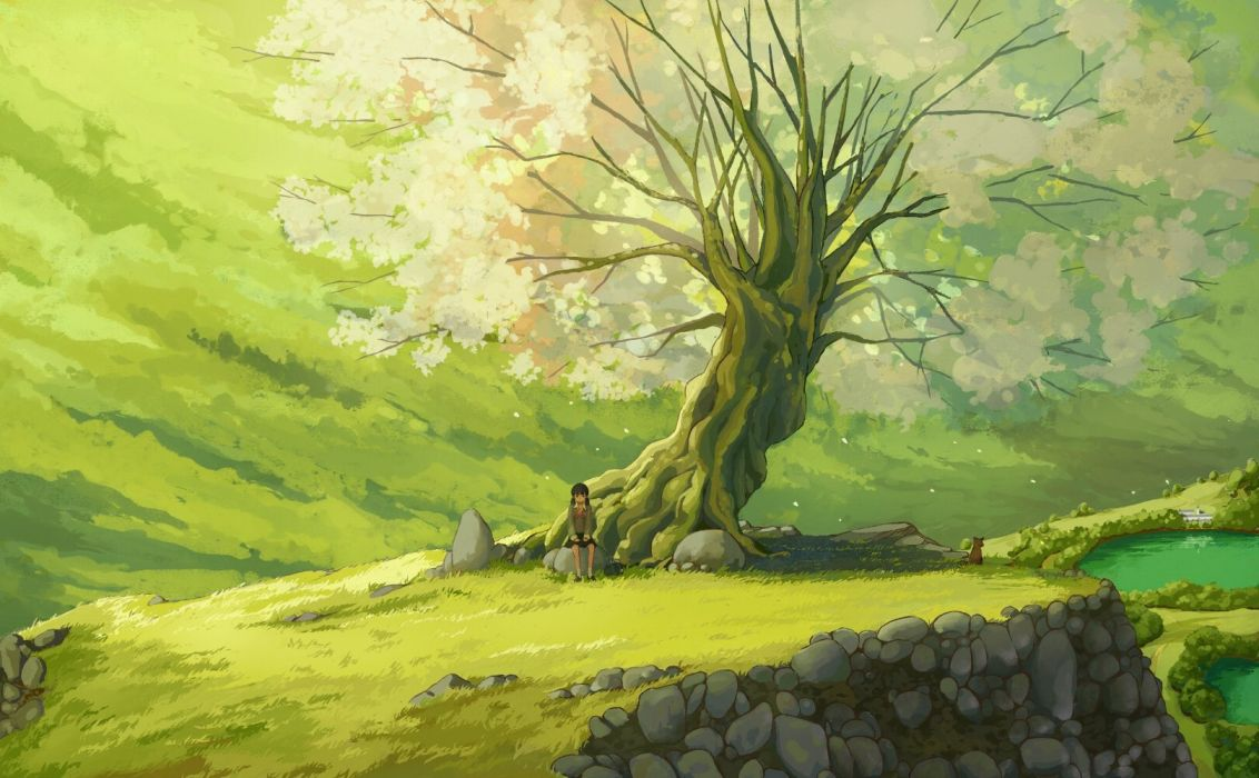 landscapes nature trees grass ponds sitting anime girls wallpaper