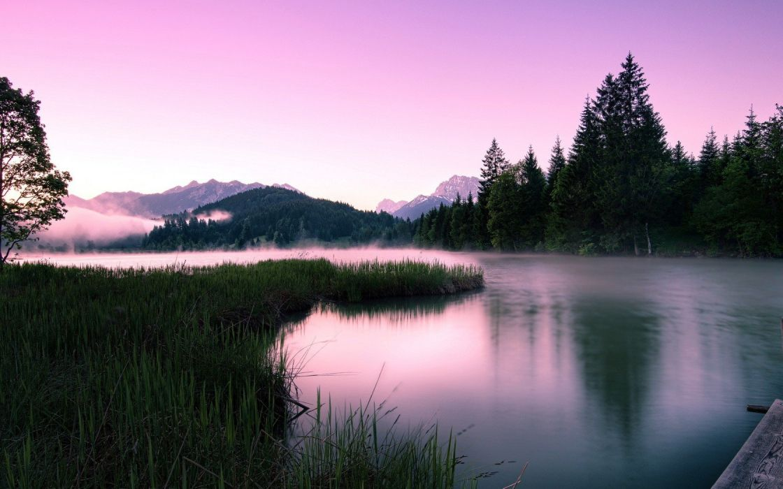 landscapes nature trees lakes skyscapes wallpaper