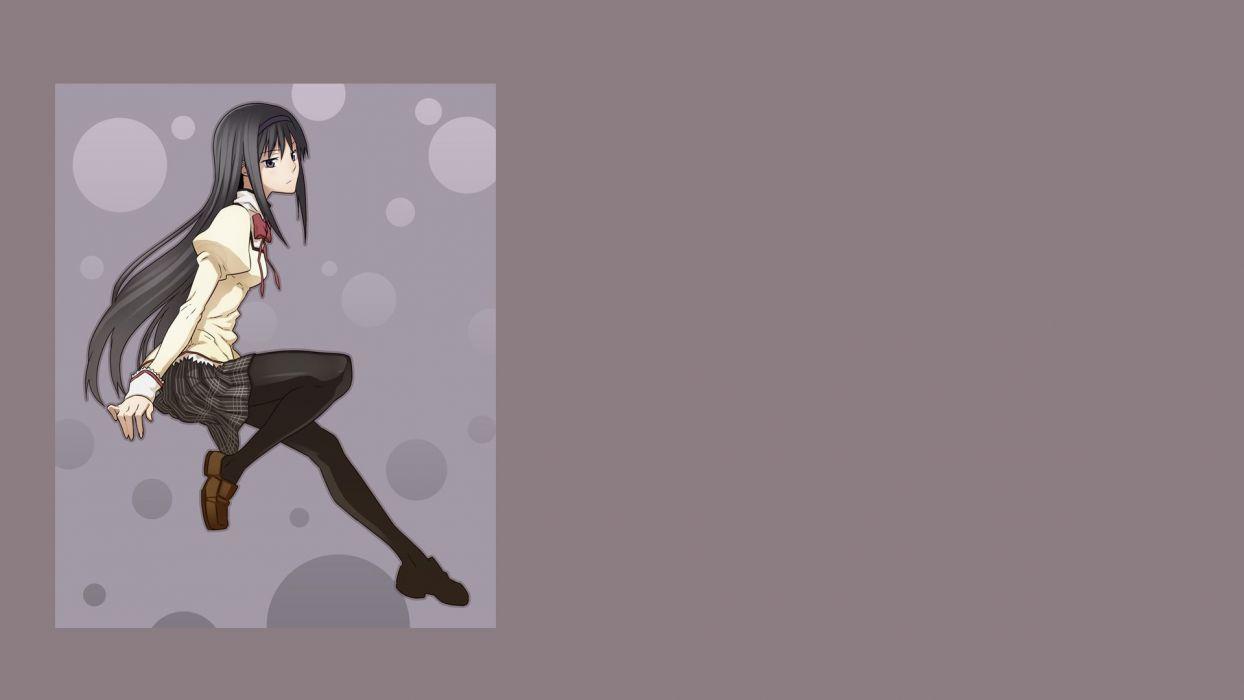 brunettes tights Mahou Shoujo Madoka Magica anime Akemi Homura simple background anime girls wallpaper