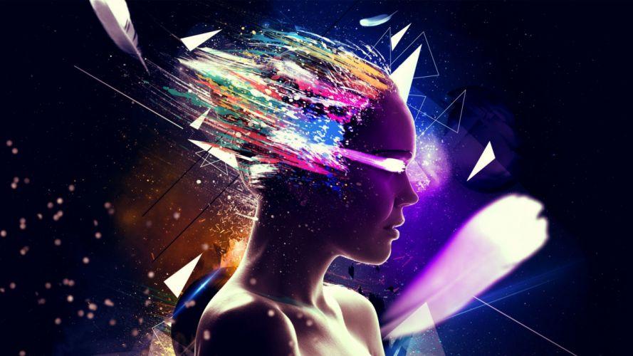 women psychedelic digital art wallpaper