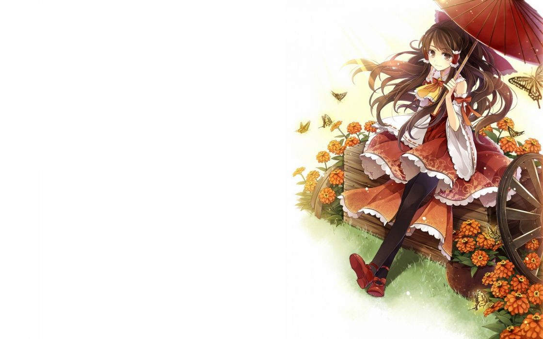 brunettes video games Touhou dress flowers long hair ribbons brown eyes pantyhose Miko Hakurei Reimu bows sitting umbrellas Japanese clothes simple background detached sleeves white background hair ornaments Hagiwara Rin butterflies wallpaper