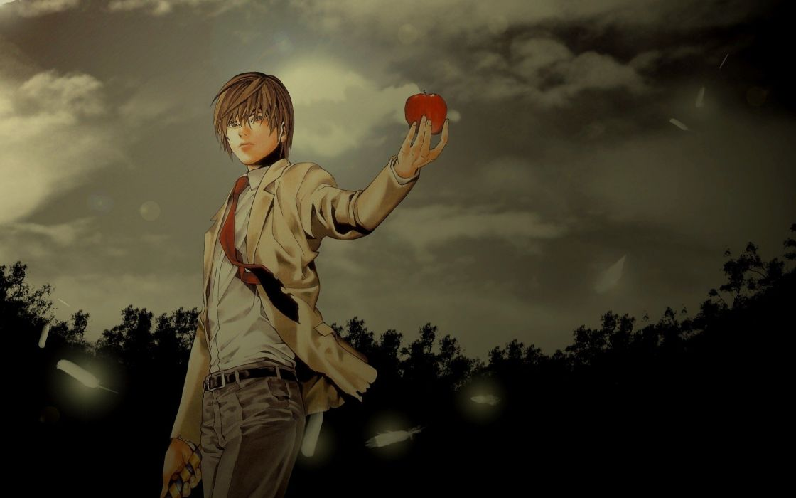 Death Note brunettes nature brown eyes Yagami Light standing anime anime boys wallpaper