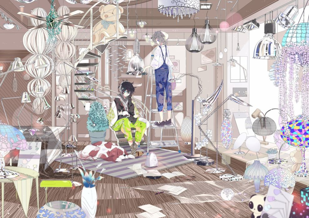 headphones animals dogs male stairs original characters wallpaper