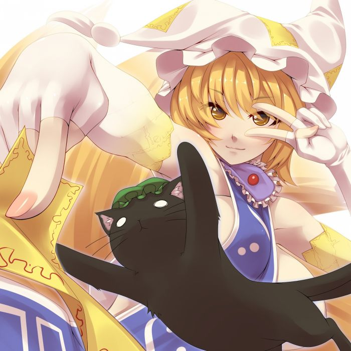 blondes tails video games Touhou gloves cats animal ears short hair yellow eyes sideboobs huge boobs Chen Yakumo Ran white gloves hats anime girls ofuda no bra bangs kitsunemimi tabard bare shoulders fingerless gloves wallpaper