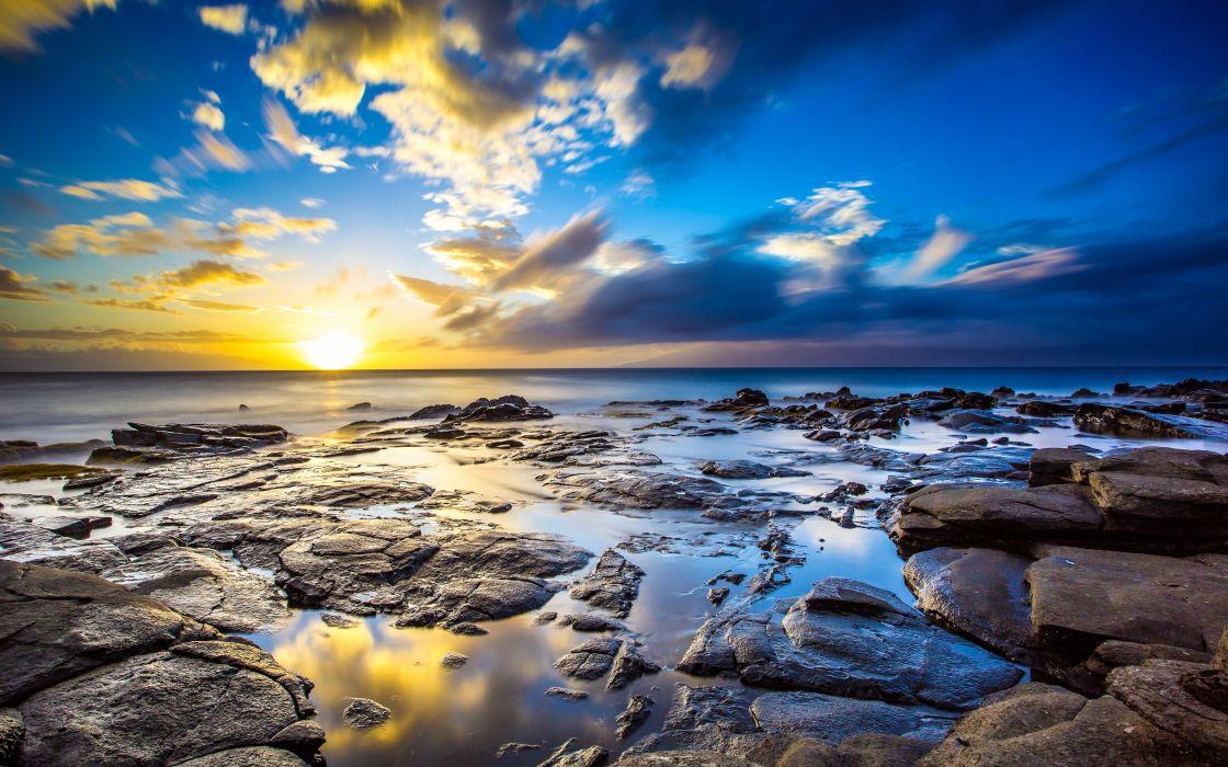 sunrise ocean landscapes nature coast Sun dawn rocks Hawaii USA sunlight HDR photography reflections sea wallpaper