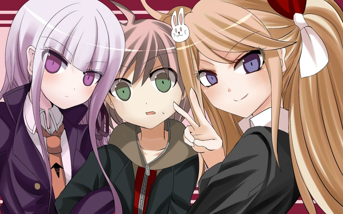 blue eyes green eyes purple eyes anime girls Kirigiri Kyouko Danganronpa Naegi Makoto wallpaper