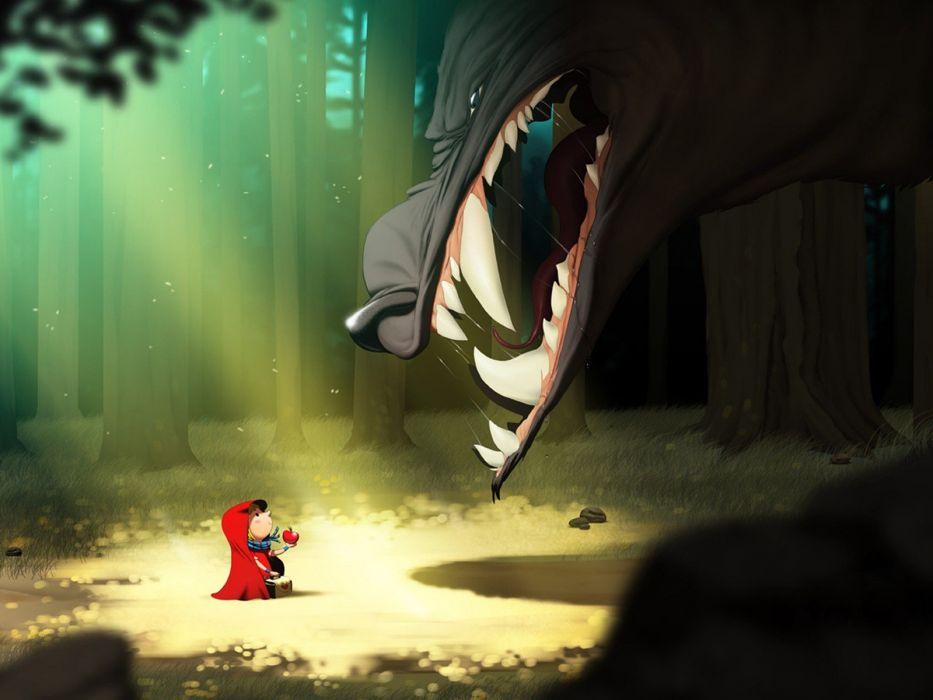 cartoons forests Little Red Riding Hood Red Hood wolves wallpaper